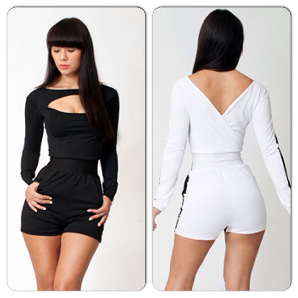 Sexy Black Long Sleeve Bodycon Shorts Romper Jumpsuit On Luulla